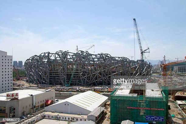 beijing national stadium under construction during olympic construction project - stadio olimpico nazionale foto e immagini stock