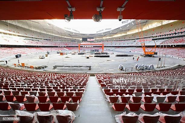beijing national stadium under construction - stadio olimpico nazionale foto e immagini stock