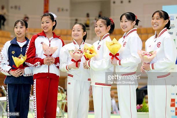 Beijing Olympic Artistic Gymnastics Japan Women's team members Mayu Kuroda Yuko Shintake Koko Tsurumi Yu Minobe Miki Uemura and Kyoko Oshima pose for...