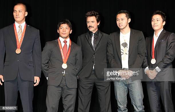 Beijing Olympic Japanese medalists Takeshi Matsuda bronze medalist in men's 200m Butterfly Masato Uchishiba gold medalist in Judo actor Robert Downey...