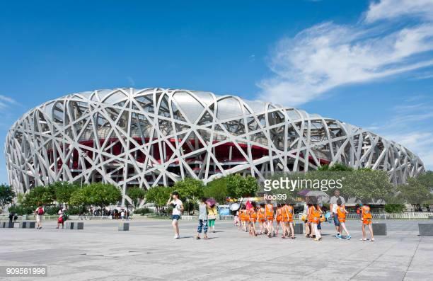 beijing olympic national stadium-bird's nest - 2008 summer olympics beijing stock pictures, royalty-free photos & images