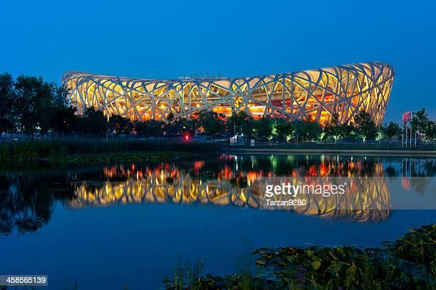 北京オリンピック statium 夜 - 国立オリンピック競技場 ストックフォトと画像
