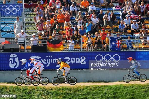 Beijing Olympics, Cycling : Bmxillustration Illustratie, Le Corguille Laetitia , Callisto Nicole , Klaus Lieke , Diaz Gabriela , Spectator Public...