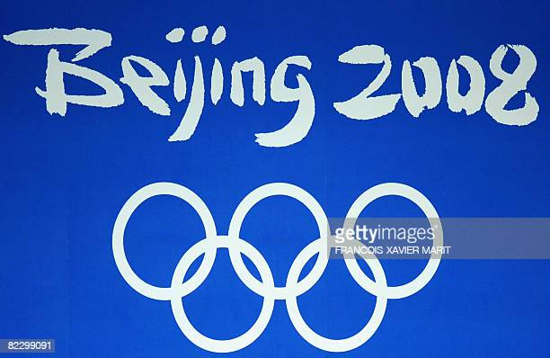 Beijing Olympics GAmes logo at the National Aquatics Center during the 2008 Beijing Olympic Games in Beijing on August 14, 2008. AFP PHOTO /...