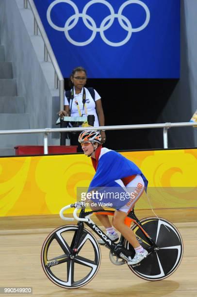 Track Vos Marianne Celebration Joie Vreugde Flag Drapeau Vlag Holland Nederland Women Points Race Track Pist Laoshan Velodrome Olymische Spelen Jeux...