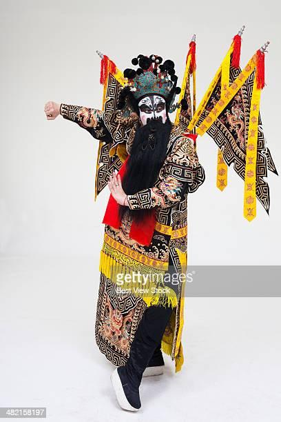 beijing opera actor dancing - beijing opera stock photos and pictures