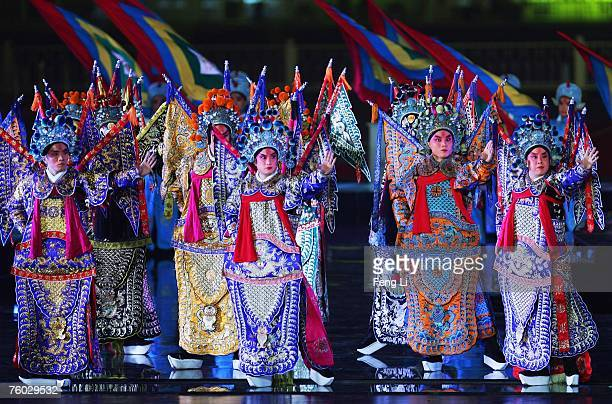 Beijing Opera actors perform during a ceremony to mark the one year countdown to the Olympics at Tiananmen Square on August 8 2007 in Beijing China...