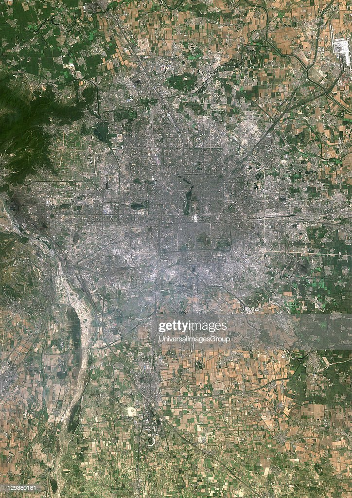 Beijing, People's Republic of China. True colour satellite image of Beijing, capital city of the People's Republic of China. Image taken on 1 July 1999 using LANDSAT 7 data., Beijing, China, True Colour Satellite Image