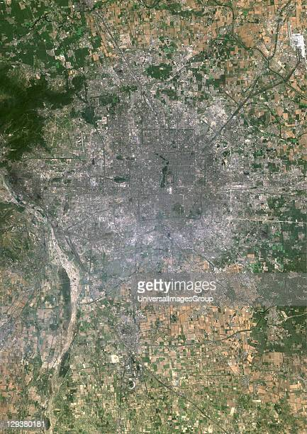Beijing People's Republic of China True colour satellite image of Beijing capital city of the People's Republic of China Image taken on 1 July 1999...