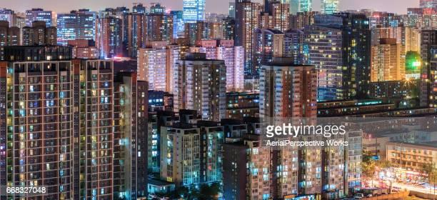 Beijing woonwijk stadsgezicht bij nacht
