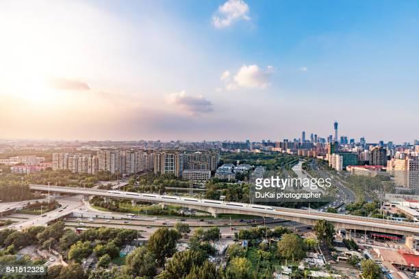 Beijing skyline and High Speed Train