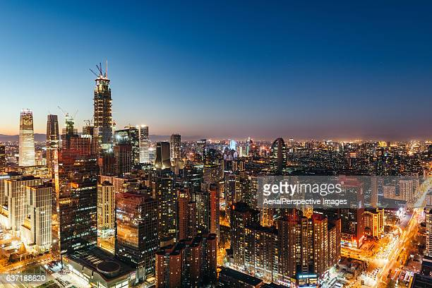 Beijing Skyline and Residential Area at Night