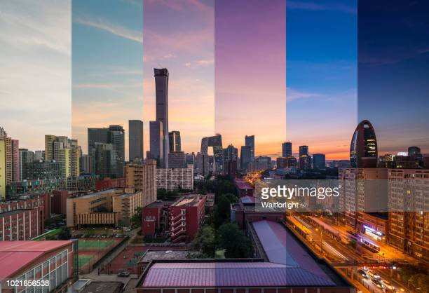 Beijing skyline from day to night