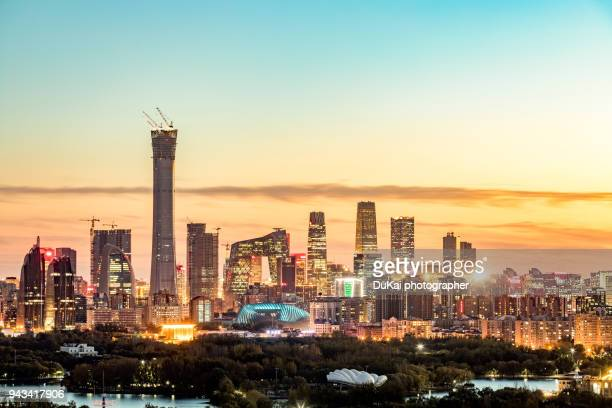 beijing skyline - beijing province stock photos and pictures