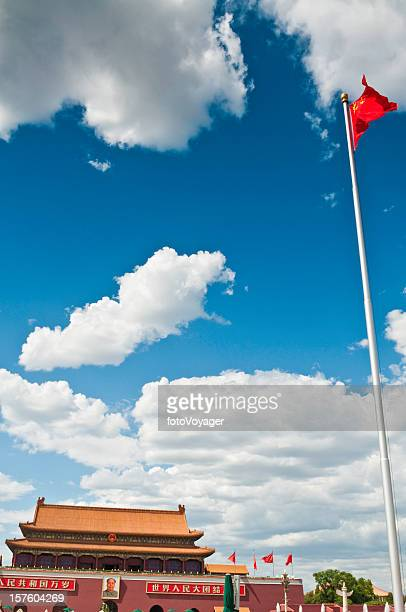 Beijing Tiananmen Square Chinese Flag Tian'an Palace Gate Mao China