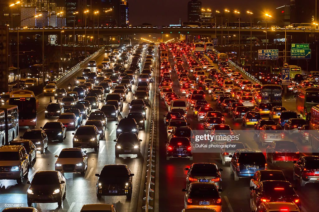 Beijing traffic congestion : Stock Photo