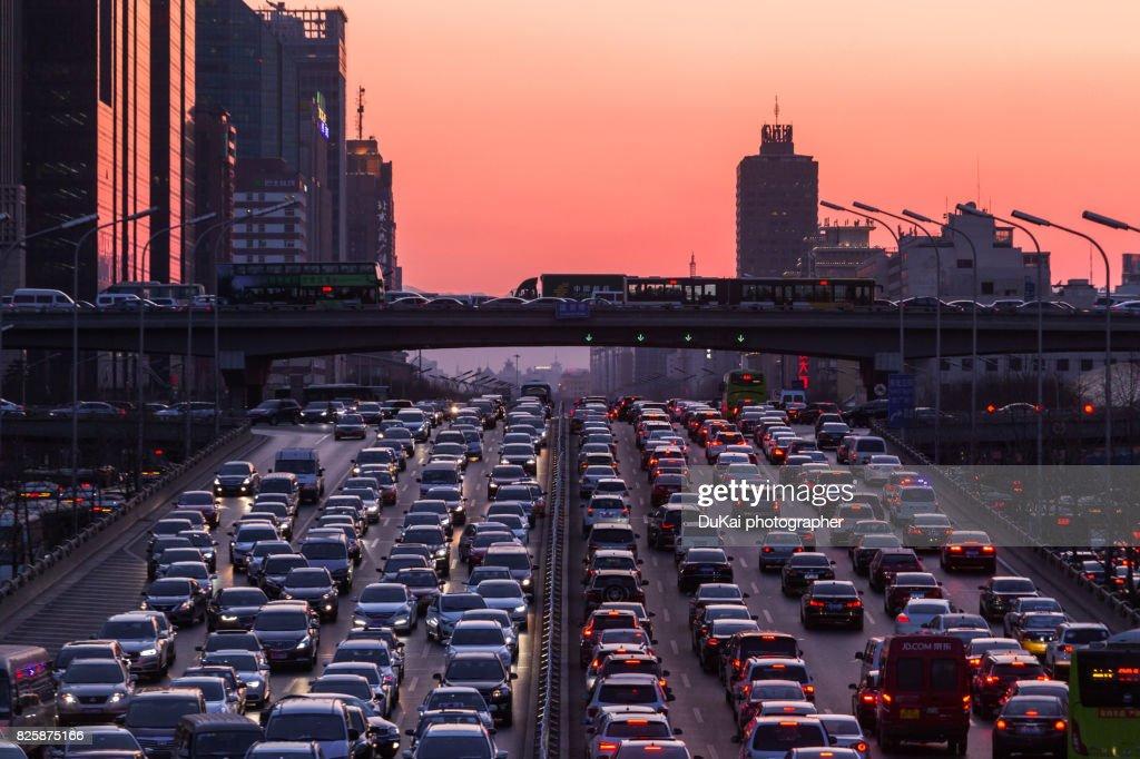 Beijing traffic congestion : Stock-Foto