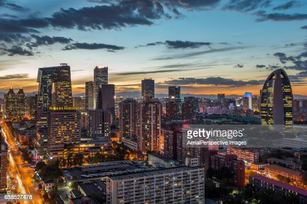 Beijing Urban Skyline and Central Business District at Dusk