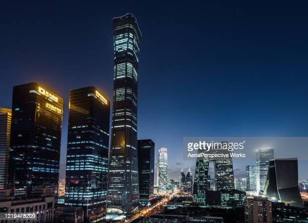 beijing urban skyline bei nacht - peking stock-fotos und bilder