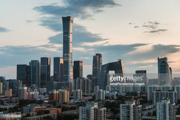beijing urban skyline at sunset - beijing stock pictures, royalty-free photos & images