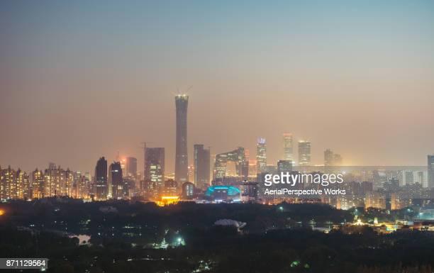 Beijing Urban Skyline in air pollution at Night