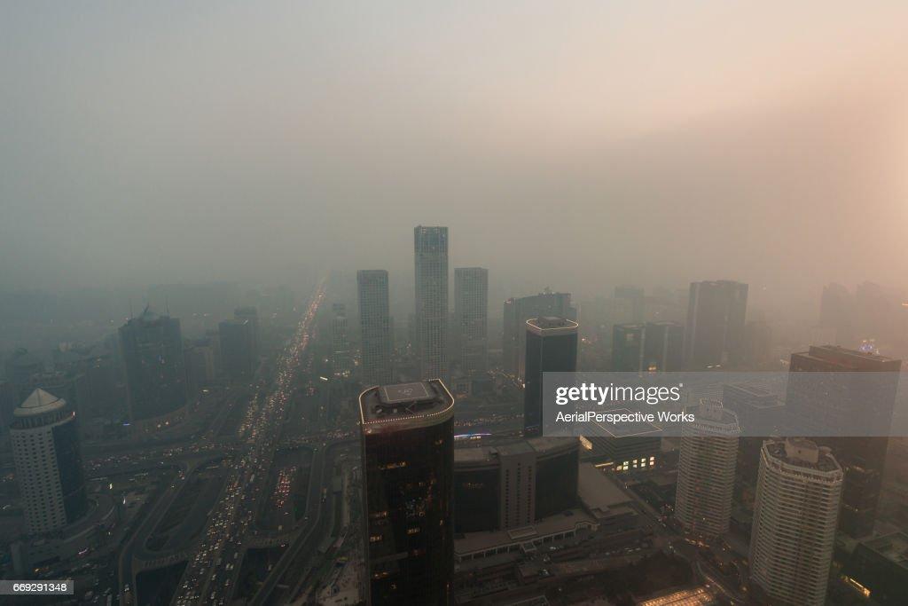 Beijing Urban Skyline in air pollution : Stock Photo