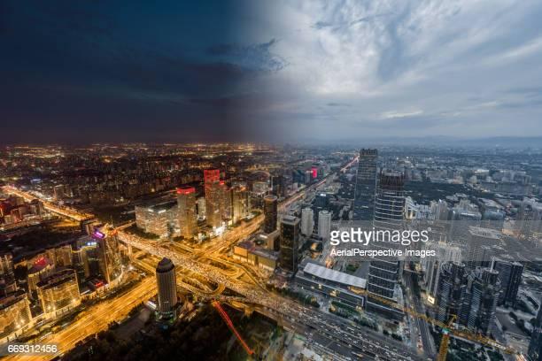 Beijing Urban Skyline, Night to Day