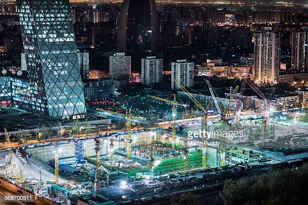 Beijing,elevated view of construction site