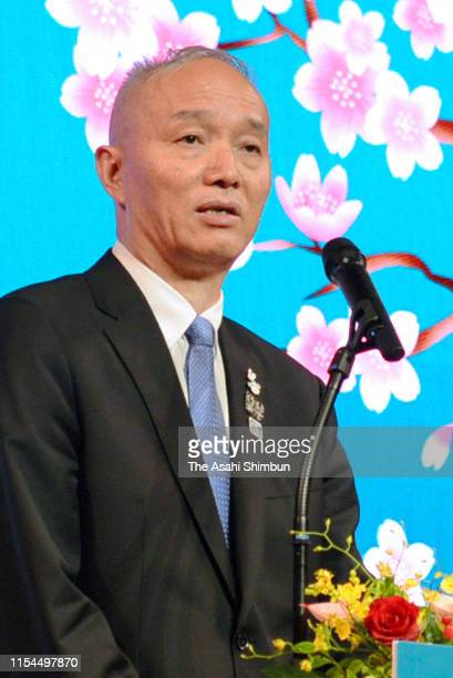 Beijing's Communist Party Secretary Cai Qi addresses during the ceremony marking the 40th anniversary of Beijing-Tokyo sister-city relationship on...