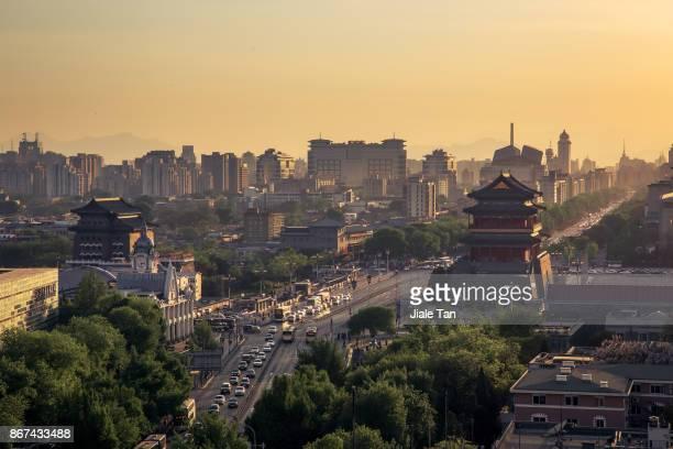 Beijing,the Zhengyangmen gate at dusk
