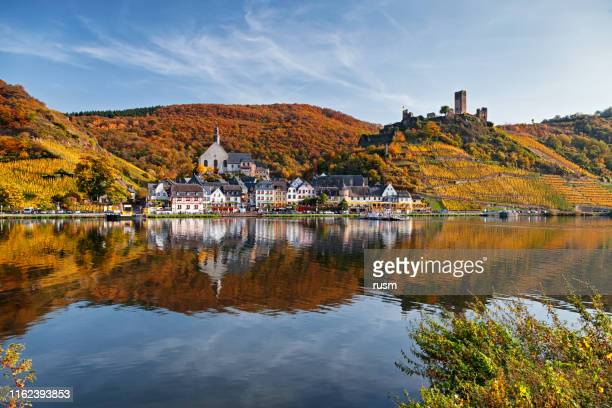 beilstein resort town and vineyards in mosel wine valley at autumn - moselle stock pictures, royalty-free photos & images