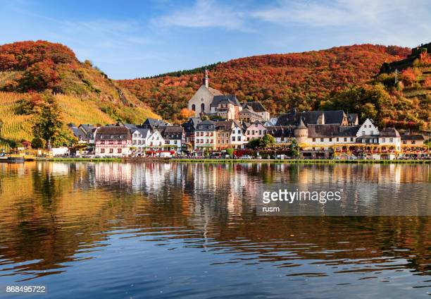 Beilstein resort town and Vineyards in Mosel wine valley at autumn, Rhineland-Palatinate, Germany.