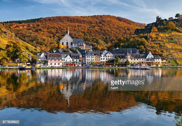 beilstein resort town and vineyards in mosel wine valley at autumn - lorraine stock pictures, royalty-free photos & images