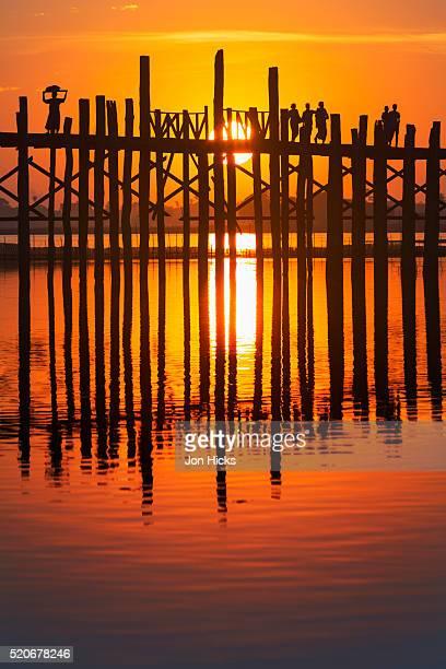 U Bein Bridge on Taungthaman at sunset