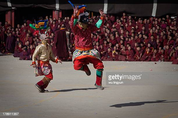 Being artistic modality of Tibetan Buddhism, fete dance of guardians is a kind of religious dance.2010 Monlam Festival in Aba Tibetan region of...