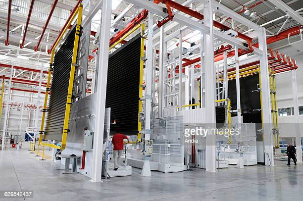 A350 being assembled in the Airbus factory of Nantes Bouguenais on new building manufacturing site for parts for the Airbus A350 here panels for the...