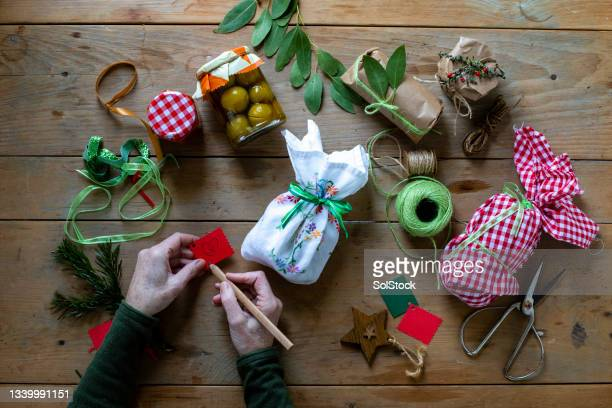 being creative at christmas - needlecraft stock pictures, royalty-free photos & images