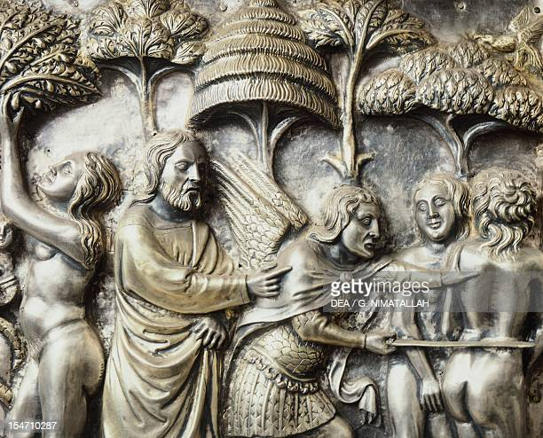 Being expelled from Paradise scenes from the Stories of the Old Testament panel on the lateral side of the altar of St James by Francesco di Niccolo'...