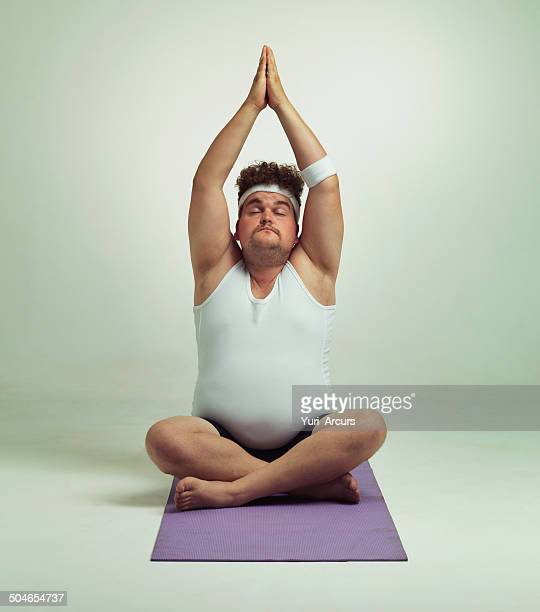 being fit is easy especially with yoga - chubby men stock photos and pictures