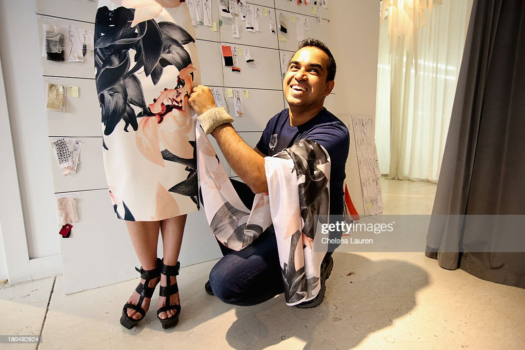 LOOK #13 being fitted on a model by designer Bibhu Mohapatra in his studio on September 5, 2013, one week prior to his runway show at Mercedes-Benz Fashion Week Spring 2014 in New York City.