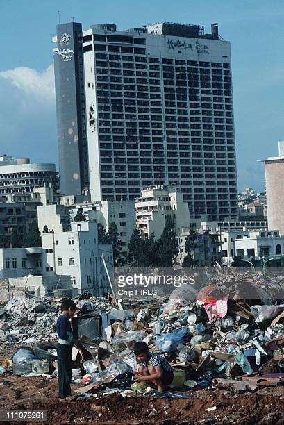 Beirut buildings destroyed during Israel's invasion of Lebanon in Beirut Lebanon in October 1982