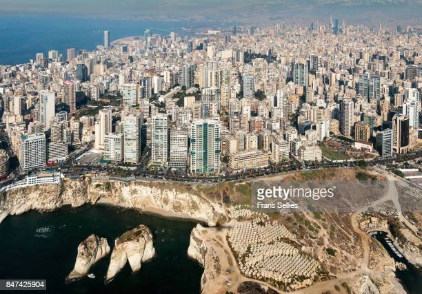 beirut from the air, lebanon - libanon stock-fotos und bilder