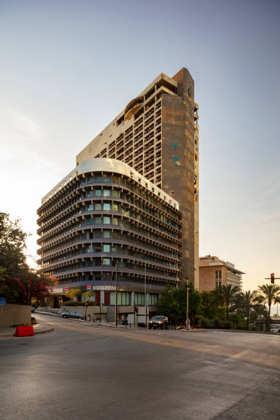 Beirut Holiday Inn hotel damaged during the civil war of 1975-1990 and left as a reminder of the war time. Beirut, Lebanon, 2019