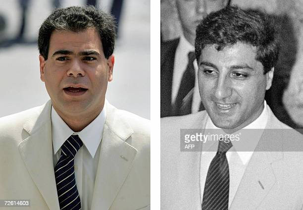 A combo of uncle and nephew shows assassinated Lebanese Industry Minister Pierre Gemayel in Beirut 20 July 2005 and his late uncle Bashir Gemayel...