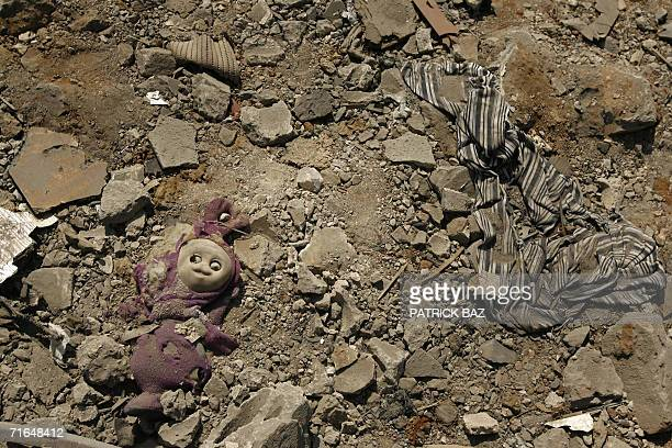 A Telly Tubby lies abandoned amid the rubble of destroyed buildings 15 August 2006 in the southern suburbs of Beirut a stronghold of Hezbollah A...