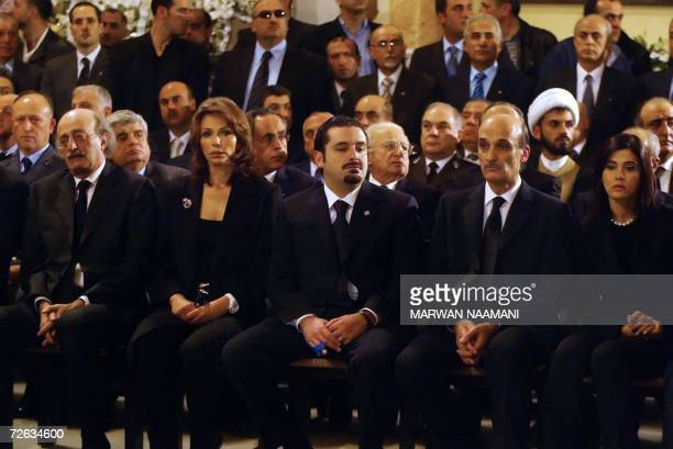 AntiSyrian Druze leader Walid Jumblatt his wife Noura parliament majority leader Saad Hariri Maronite leader Samir Geagea and his wife Sitrida attend...