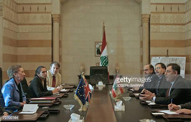 British Foreign Secretary Margaret Beckett listens to Lebanese Prime Minister Fuad Siniora during a meeting in Beirut 02 December 2006 Beckett...