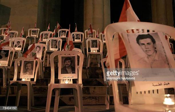 Candles lit the pictures of Lebanese civilians who went missing in Lebanon's 19751990 civil war during a ceremony organized by Offer Joie Give Joy...