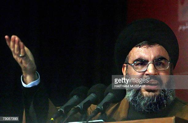 Hassan Nasrallah Secretary General of Hezbollah gestures during a speech at the start of the Shiite Ashura ceremonies which mark the death of prophet...