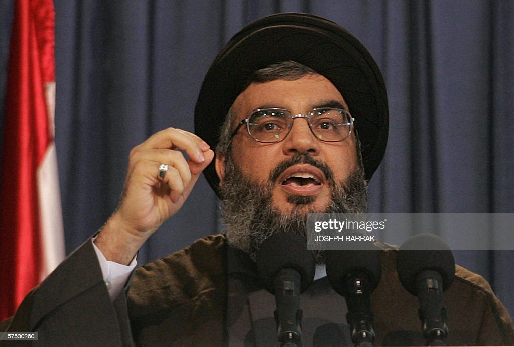 Hezbollah Secretary General Hassan Nasrallah speaks 04 May 2006 at the opening of a book fair in the Lebanese capital Beirut. The Shiite Muslim leader defended Iran's right to acquire and export nuclear power and accused the United States, Britain and France of 'monopolizing knowledge' in the world. Nasrallah, whose Iran-backed militia leads an anti-Israeli struggle, also hailed Iran's supreme leader Ayatollah Ali Khamenei for saying on April 25 that the Islamic republic was ready to share its nuclear technology with other countries.